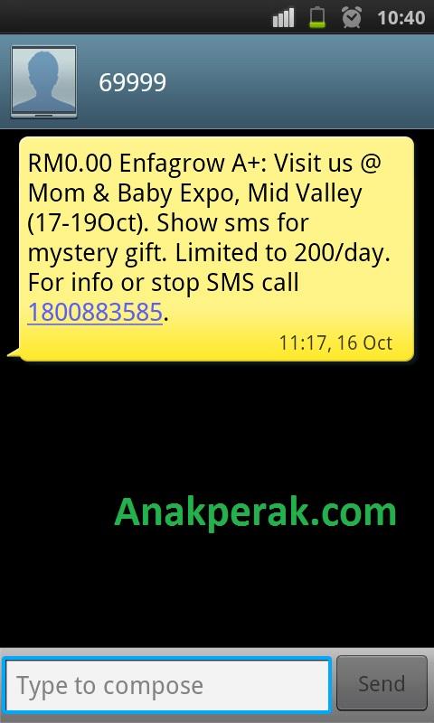 SMS enfagrow