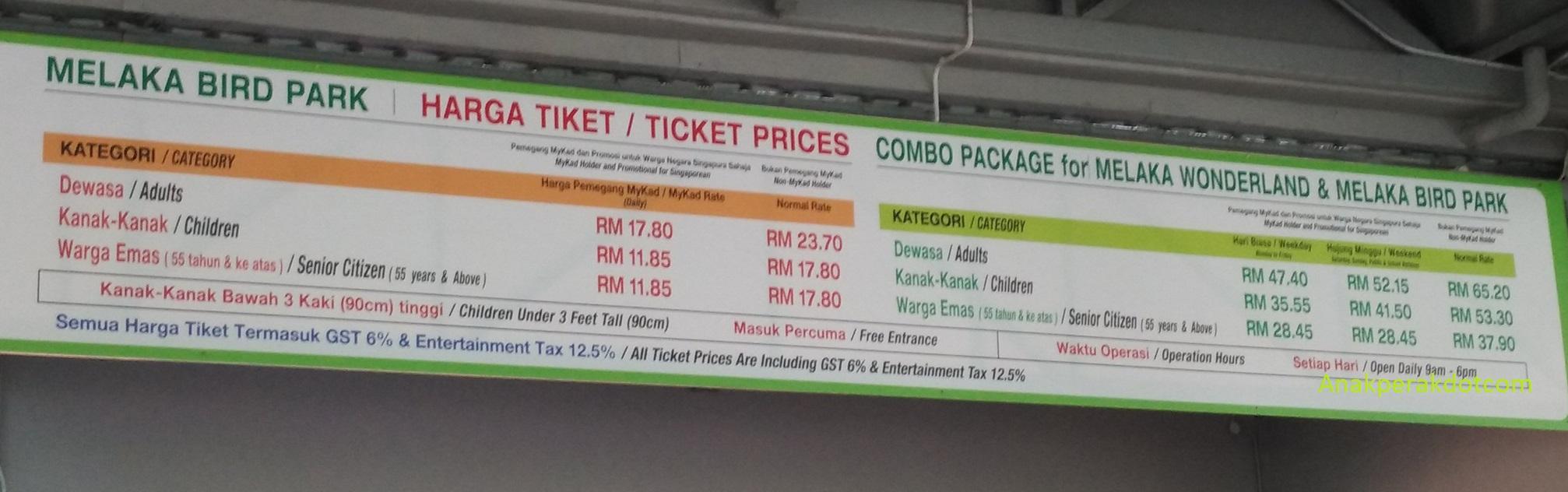 harga tiket masuk malacca bird park