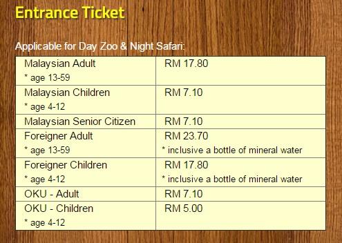 harga tiket masuk zoo melaka night safari